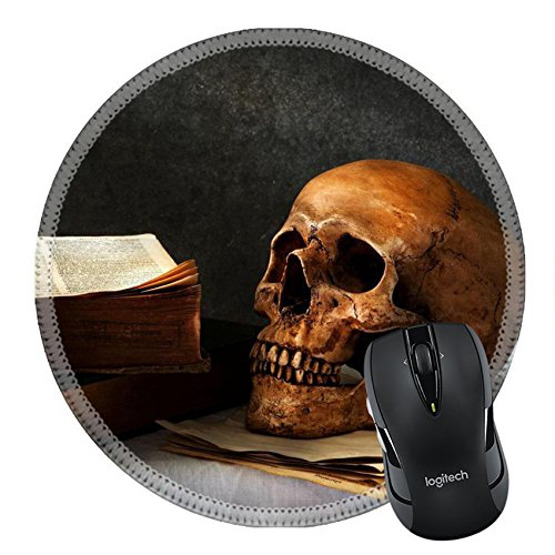 MSD Mousepad Round Mouse Pad/Mat 33649912 still life art photography on human skull skeleton with book omn desk