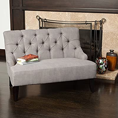 Christopher Knight Home Mariana Grey Fabric Settee - Upholstered with grey fabric Features button tufted detailing on the backrest Contemporary and French inspired design elements for an elegant look - sofas-couches, living-room-furniture, living-room - 51s7TNQGI L. SS400  -