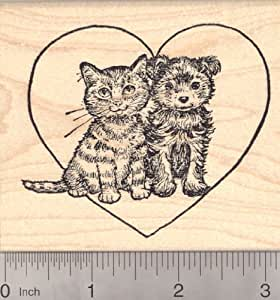 Valentine 39 s day kitten and puppy rubber stamp for Rubber stamps arts and crafts