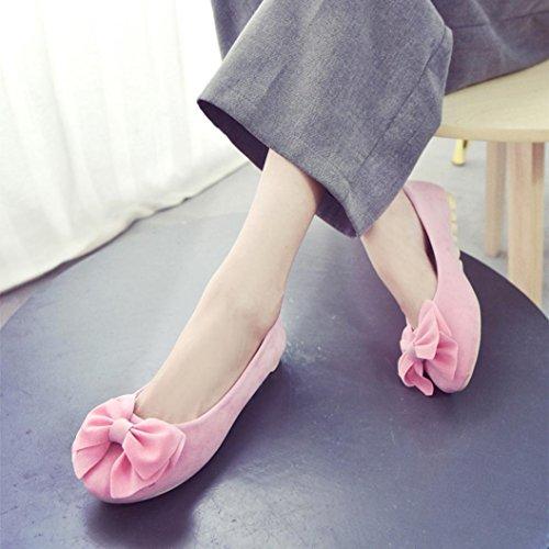 Elevin (tm) Femmes Printemps Été Pompes À Bout Rond Bout Plat Noeud Papillon Slip Flattie Ballet Bateau Chaussures Rose 1