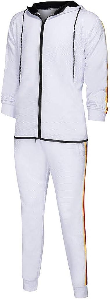 jerferr JERFER Mens Autumn Zipper Print Sweatshirt Top Pants Sets Sport Suit Tracksuit