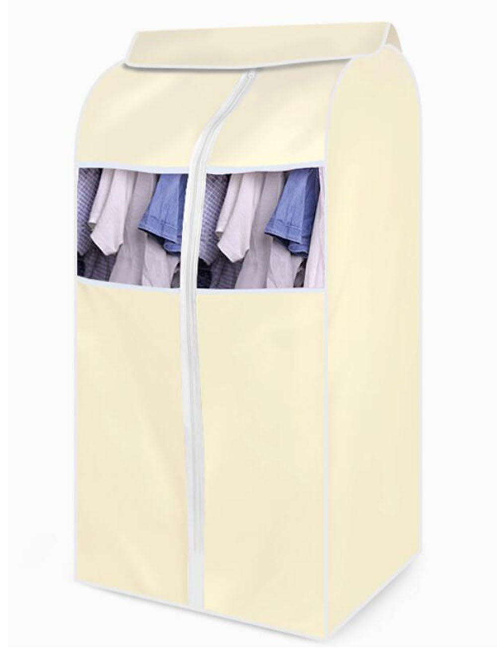Hosaire Garment Cover Clothes Cover Bag Nylon Oxford Fabric Storage Suit Bag Hanging Clothes Bag Clothes Dust Cover Yellow