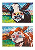 Cape Craftsmen Curious Cow Outdoor Safe Wall Canvas, Set of 2