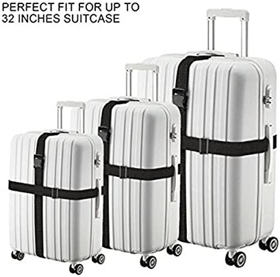 GANUZUO Luggage Straps Adjustable Suitcase Belts Travel Bag Bungee Accessories 2pack.
