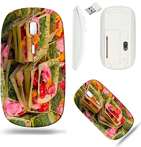 (Liili Wireless Mouse White Base Travel 2.4G Wireless Mice with USB Receiver, Click with 1000 DPI for notebook, pc, laptop, computer, mac book Traditional balinese offerings to gods in Bali with flower)