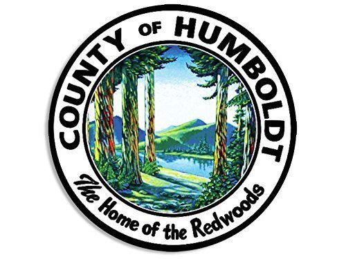 Vintage Flag Round Sticker - GHaynes Distributing ROUND Humboldt COUNTY Vintage Seal Sticker Decal (decal california redwood) Size: 4 x 4 inch