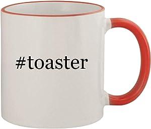 #toaster - 11oz Ceramic Colored Rim & Handle Coffee Mug, Red
