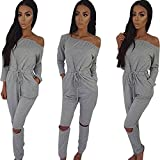 Longwu Women's Fashion off-Shoulder Drawstring Jumpsuits Rompers Knee Hole Pants Grey-XL offers