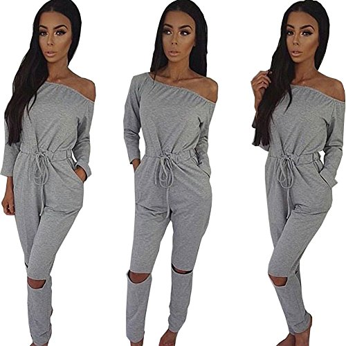 ALAIX Women's off-Shoulder Bodycon Knee Hole Pants Party Club Jumpsuits - Silk Jumpsuit Strapless