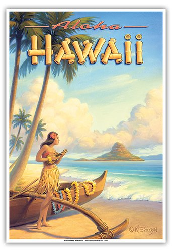 (Pacifica Island Art Aloha Hawaii - Hula Girl Playing Ukulele - Mokoli_i Island (Chinaman's Hat) - Vintage Style Hawaiian Travel Poster by Kerne Erickson - Master Art Print - 13 x 19in)