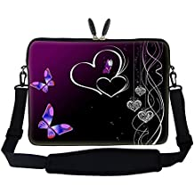"15 15.6 inch Butterfly Heart Design Laptop Sleeve Bag Carrying Case with Hidden Handle & Adjustable Shoulder Strap for 14"" 15"" 15.6"" Apple Macbook, Acer, Asus, Dell, Hp, Sony, Toshiba, and More"