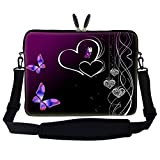 "17 inch Butterfly Heart Design Laptop Sleeve Bag Carrying Case with Hidden Handle & Adjustable Shoulder Strap for 16"" 17"" 17.3"" Apple Macbook, Acer, Asus, Dell, Hp, Sony, Toshiba, and More"