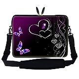Meffort Inc 17 17.3 inch Neoprene Laptop Sleeve Bag Carrying Case with Hidden Handle and Adjustable Shoulder Strap - Purple Heart Butterfly