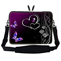 "15 15.6 Inch Butterfly Heart Design Laptop Sleeve Bag Carrying Case With Hidden Handle & Adjustable Shoulder Strap For 14"" 15"" 15.6"" Apple Macbook, Acer, Asus, Dell, Hp, Sony, Toshiba, & More"