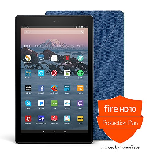Fire Hd 10 Protection Bundle With Fire Hd 10 Tablet  64 Gb  Black   Amazon Cover  Marine Blue  And Protection Plan  3 Year