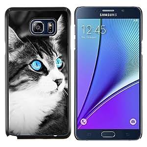 Caucho caso de Shell duro de la cubierta de accesorios de protección BY RAYDREAMMM - Samsung Galaxy Note 5 5th N9200 - Azul del ojo de gato