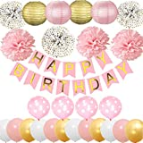 ZSNICE Birthday Party Decorations Supplies Favors, Party Pack Pink for Girls Gold Happy Birthday Banner, Paper Lanterns, Tissue Pom Poms Flowers, Polka-Dot Balloons, Gold Pink White Shiny Latex Balloons,Gifts for Kids Women