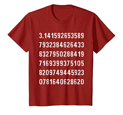 Kids Cranberry Apparel - Kids Pi Number | Funny Math Geometry Calculus Science T-Shirt 8 Cranberry