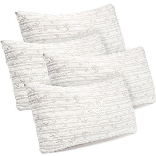 Premium Shredded Hypoallergenic Certipur Memory Foam Pillow with washable removable Ultra cool bamboo derived rayon cover, Adjustable Loft Bamboo Pillows By Clara Clark King\Cal King 4 Pack Set