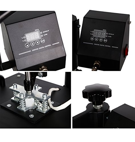 PowerPress HPM151208POWER HPM151208 8 in1 T-Shirt Digital Heat Press Machine Transfer Sublimation Hat Mug Cap Plate 15-by-12-Inch, Black