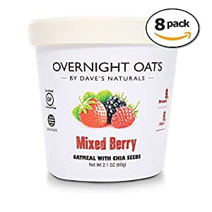 Overnight Oats by Dave's Naturals Mixed Berry with Summertime Blackberries, Raspberries, Strawberries, Chia Seeds, & Whole Grain Oats (Pack of 8)