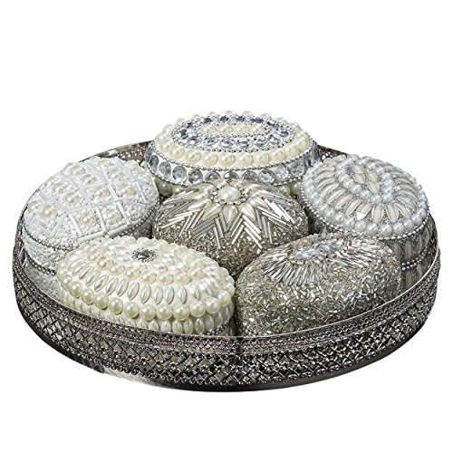 The White Nights Jewelry Boxes and Tray, Set of 7, Hand Crafted, Beaded, Velvet Lined, Mirror Inset Round Metal Tray with Open Work Rim, 7 3/4 Inches Diameter, By Whole House Worlds (Vintage Jewel Box)