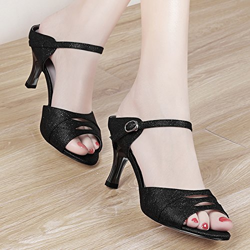 Heeled Fine Black Slippers With Wear Slippers High Summer Semi 7Cm Match All Go Sandals Fashion Shoes The A Out New KPHY zwRPa0Sn