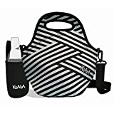 Black and White Striped Insulated Neoprene lunch bag for Women and Bottle Sleeve