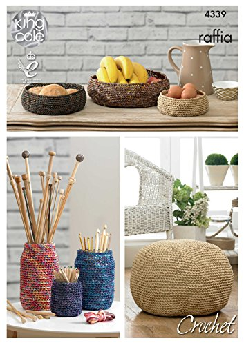 King Cole Home Storage Bowls, Jar Covers and Pouffe Crochet Pattern 4339 by King Cole