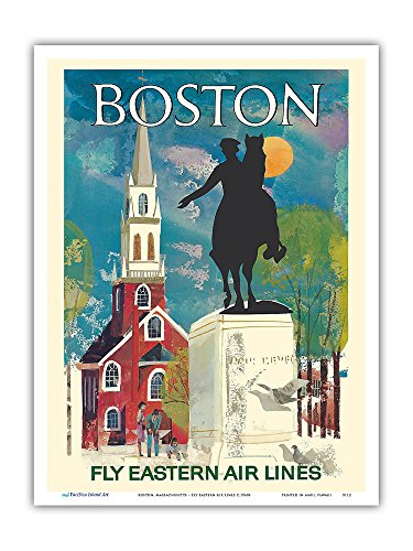 Boston, Massachusetts - Fly Eastern Air Lines - Paul Revere Statue and Old North Church - Vintage Airline Travel Poster c.1960s - Master Art Print - 9in x 12in (Old North Church)