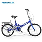 Flying Pigeon Shimano Single Speed Children's Folding Bicycle Bike With Fenders,20-Inch Kids Foldable bike Bicycle ,Can be Fold Storage (blue)
