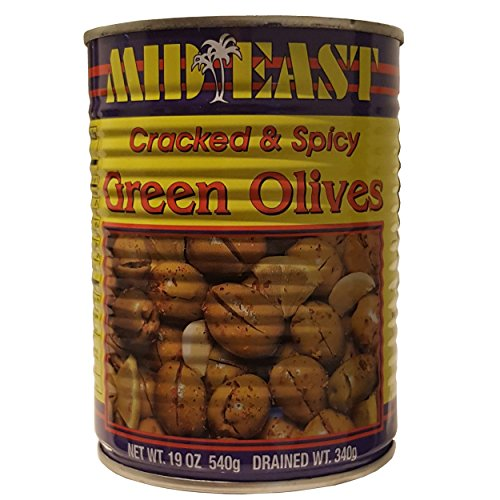 Mid East Cracked Green Olives With Shatta 19oz (540g), Pack of 2 cans