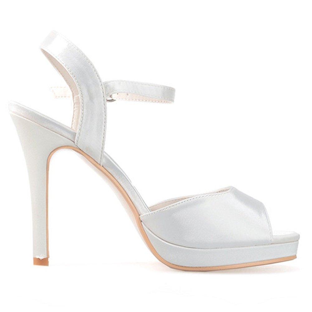Elobaby Frauen Hochzeit Schuhe Handgefertigte Schnalle Satin Satin Satin Plattform Formale Herbst Mid High Heels (11 cm Ferse) Purple 2f0367