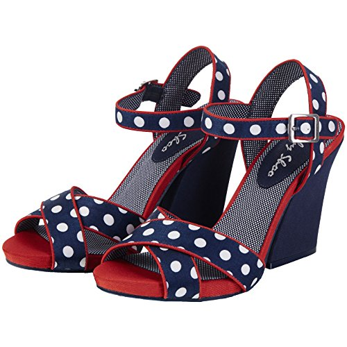 Spots Over 6 Cross Shoes 39 Evie Ruby Strap Shoo Navy UK Sandal Friendly Vegan Ladies EU nYnIOq