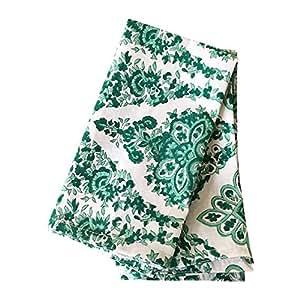 The White Petals Green Dinner Napkins, Set of 6, 20x20 inch, 100% Cotton Cloth Napkins