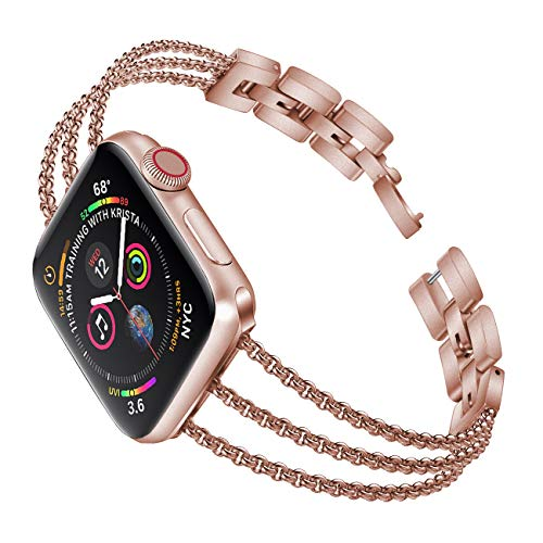Biaoge Metal Band Compatible for Apple Watch Band Series 4 40mm 44mm/ iWatch Series 3 2 1 38mm 42mm, Adjustable Stainless Steel Replacement Wristband Strap Cuff Bangle Bracelet Access
