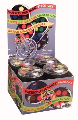 Koh-I-Noor Opaque Watercolor Paint Wheel in Display Box, 24 Colors, Display of 16 (FA171506.DIS)