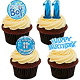 11th Birthday Boy, Edible Cupcake Toppers, Blue - Stand-up Wafer Cake Decorations by Made4You
