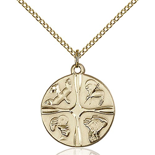 Gold Filled Christian Life Pendant 7/8 x 3/4 inches with Gold Filled Lite Curb Chain by Bonyak Jewelry Saint Medal Collection