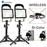 #6: LimoStudio [2 set] Wireless Bi-Color 30W LED Spotlight, Indoor/Outdoor Portable Flood Lights, Photo Video Table Top Continuous Lighting, Built-in Rechargeable Batteries & USB Port, AGG2682