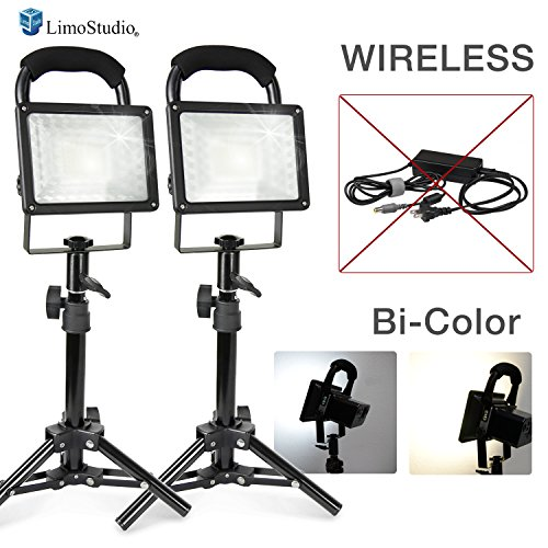 LimoStudio [2 set] Wireless Bi-Color 30W LED Spotlight, Indoor/Outdoor Portable Flood Lights, Photo Video Table Top Continuous Lighting, Built-in Rechargeable Batteries & USB Port, AGG2682 by LimoStudio