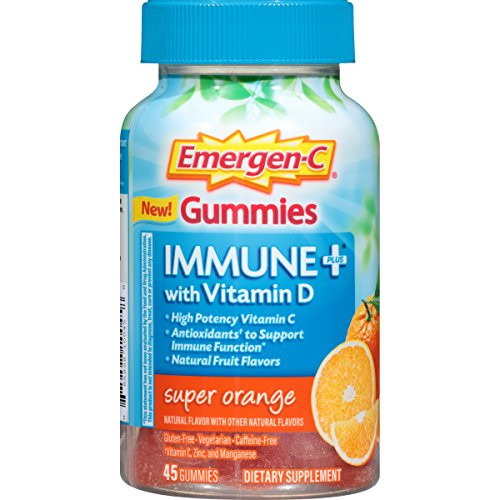 Emergen C Immune+ Gummies (45 Count, Super Orange Flavor) Immune System Support with 500mg Vitamin C Dietary Supplement, Caffeine Free, Gluten Free