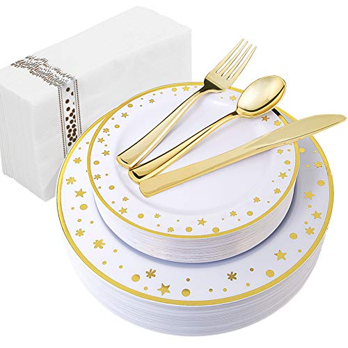WDF 25Guest Gold Plastic Plates with Disposable Plastic Silverware&Hand Napkins- Star Dot 25 Dinner Plates,25 Salad Plates,25 Forks, 25 Knives, 25 Spoons,25 Disposable Napkins