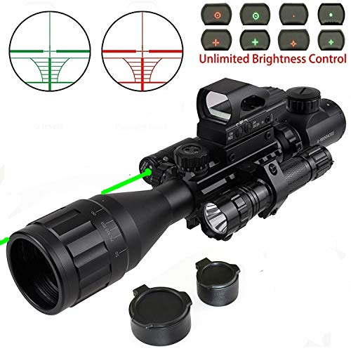 XOPin Rifle Scope Combo C4-16x50EG Dual Illuminated with Green Laser Sight 4 Holographic Reticle Red/Green Dot for Weaver/Rail Mount (Updated 4-16x50AOEG) ()