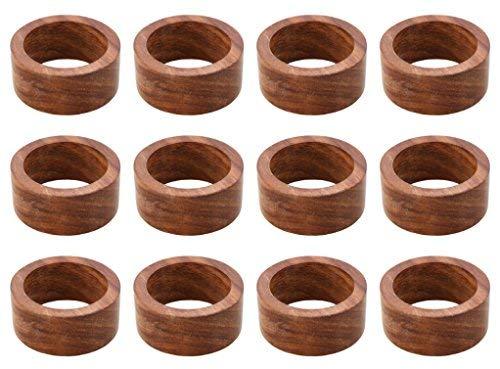 ARN Craft Handmade Wood Napkin Ring Set With 12 Napkin Rings (CW- 05-12) ()