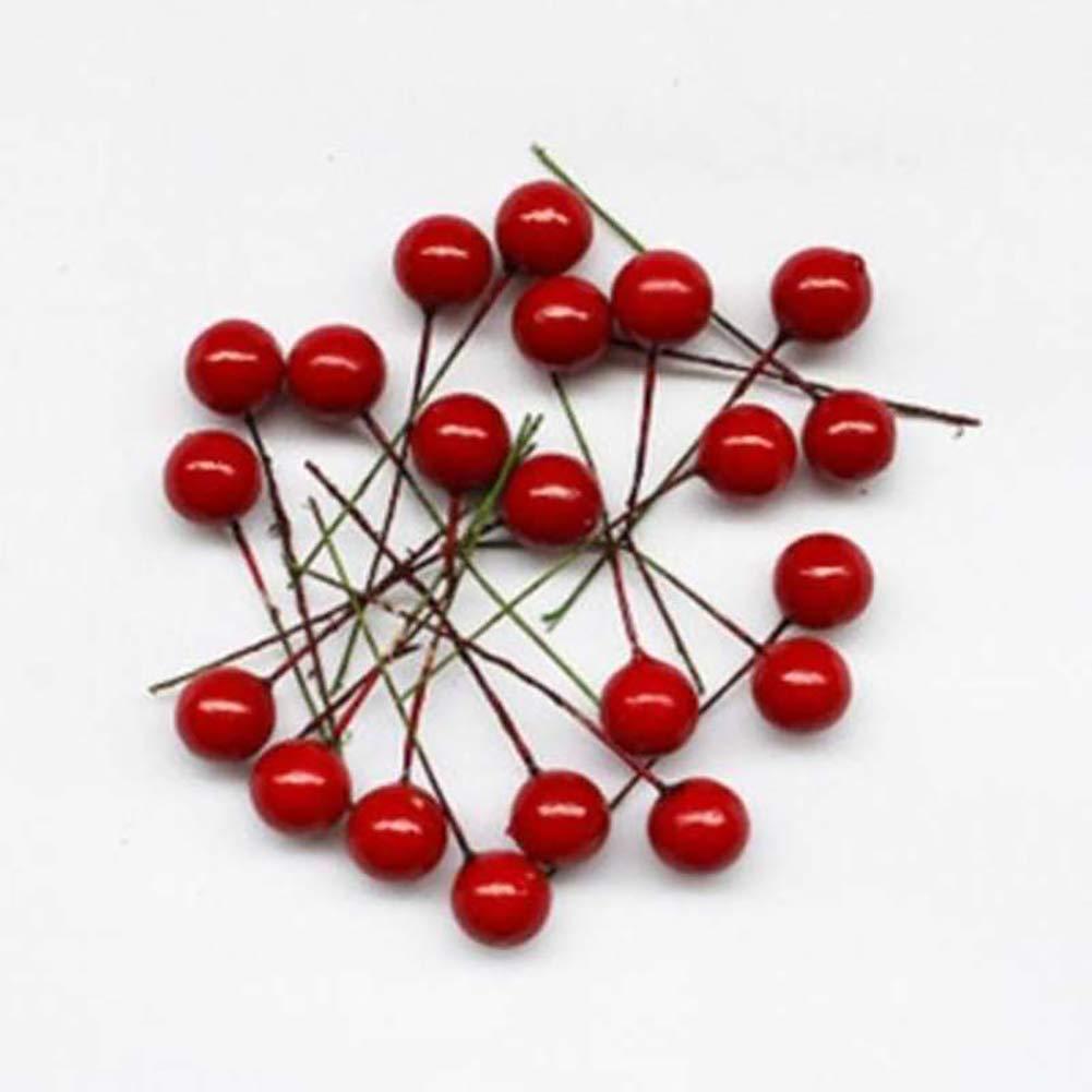 Lot de 30 Rouge cerise foncé-Mousse fruits artificielles pour décoration de fête