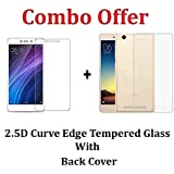 Kaira Tempered Glass , Transparent Soft Ultra Slim Back Cover Case For Xiaomi Redmi 4A