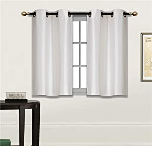 """Elegant Home 2 Panels Tiers Grommets Small Window Treatment Curtain Faux Silk Insulated Blackout Drape Short Panel 28"""" W X 36"""" L Each for Kitchen Bathroom or Any Small Window # D24 (Ivory)"""