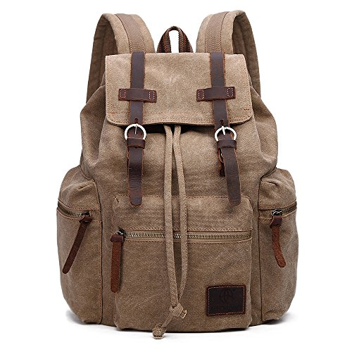 Canvas Khakis - GINGOOD Canvas Backpacks Vintage Rucksack Casual Leather Army Kipling Knapsack 19L Khaki #220