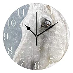 Dozili Cute Animal White Horses Round Wall Clock Arabic Numerals Design Non Ticking Wall Clock Large for Bedrooms,Living Room,Bathroom
